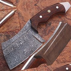 1095 Damascus Steel Butchers Knife Cutlery Kitchen Chopping Meat Cleaver Full Ta   Collectibles, Knives, Swords & Blades, Collectible Fixed Blade Knives   eBay!