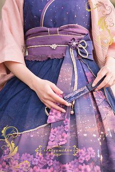 IchigoMiko -Fantastic Night By The River of Sakura- Wa Lolita Corset with Overskirt