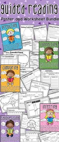 Guided Reading Strategy Posters and Comprehension Worksheets. Includes Predicting, Connecting, Inferring, Comparing, Synthesising, Summarising, Creating Images, Questioning and Determining Importance!