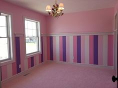 Custom wall paint & shelf… little girl's room. Perfect for a princess! Purple Wall Paint, Purple Walls, Purple Teal, Light Purple, Pink, Striped Room, Striped Walls, Teen Girl Bedrooms, Little Girl Rooms