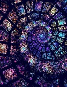 by ~monsan Digital Art / Fractal Art / Raw Fractals ~ DeviantArt Stained Glass Art, Stained Glass Windows, Mosaic Glass, Window Glass, Glass Vase, Roof Window, Blue Mosaic, Leaded Glass, Fused Glass