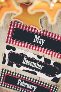 Wild Wild Western Calendar Headers. Cute as a button! I love this because you could make this boy friendly as well as girl friendly. If ive learned anything in college, its to not make your classroom all pink and girly. If you were a boy, would you want to be there? mhmm...no.