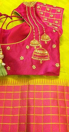 Jhumka embroidery on saree blouse. Love this design. Indian fashion.
