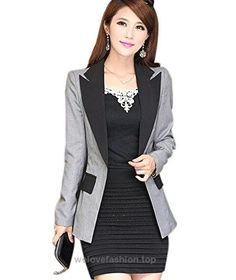 Aro Lora Women's Long Sleeve Color Block Lapel One Button Jacket Blazer Suit US 8-10 Grey  BUY NOW     $29.98    This unique design blazer is slim fitted and it can wear both in formal and casual occasion. It can wear to work or wear to party. Versatile casual and office blazer  ..