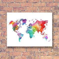 Rainbow World Map Printable Colorful Watercolor World Map Wall World Map Wall Art, World Map Poster, Art World, World Map Printable, Printable Art, Winsor And Newton Watercolor, Water Color World Map, Art File, Watercolor Print