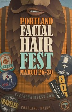 This project involved redesigning a logo for The Portland Facial Hair Festival, creating logos for each event, and designing a poster to showcase and advertise the festival. Next to come are posters for each individual event. Graphic Design Print, Graphic Design Typography, Graphic Design Illustration, Graphic Design Inspiration, Illustration Art, Storefront Signs, Cool Posters, Marketing, Packaging Design