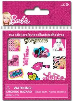 Barbie Party Supplies Bitty Bit Stickers 104ct by Trends International. $4.99. These fun Barbie Stickers are perfect for decorating scrap books, notebooks, bike helmets, etc. Plus, they are the perfect size to fit in the squares of a standard wll calendar which makes them great for rewards and potty training! 104 prismatic stickers per package.