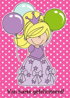 Prinses Alix met ballonnen - Felicitatiekaarten - Kaartje2go