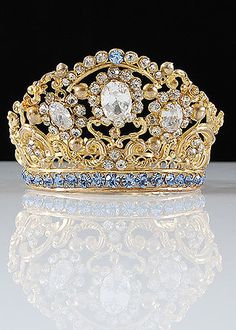 French Antique Gilt Brass Repousse Tiara with Blue Glass Jewels