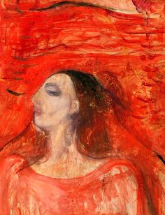 Woman's Head against a Red Background Edvard Munch - 1893-1894