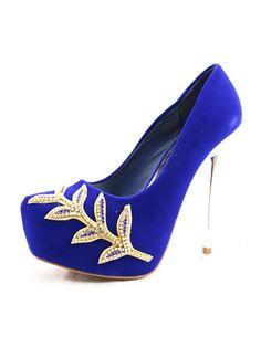 Platform Wedding Shoes Royal Blue High Heel Pumps Womens Slip On Bridal With Rhinestone