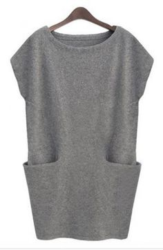 Grey Sleeveless Pockets Bodycon Sweater Dress - Sheinside.com Mobile Site