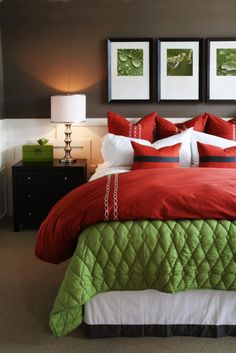 Complementary- This room is very bright and cheerful. the green adds a calming aspect to the intense red on the pillows and bedspread.