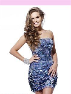 Strapless Sequin 2013 Short Prom Dress