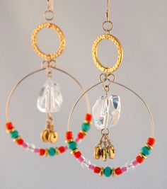 Genuine Quartz Crystal/ Dangle Earrings/ by LLDArtisticJewelry, $35.00