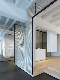 Movet's Schorndorf Office Loft / Studio Alexander Fehre -- I love the expanded metal screen for walls, though I am sure that it terribly transmits sound horizontally