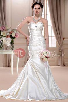 ピックアップと豪華なトランペット/マーメイド恋人床長さチャペルウェディングドレス