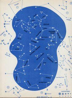 1966 constellation star chart original vintage sky map celestial bookplate - no…