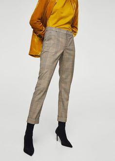 Pantalon coton à carreaux | MANGO