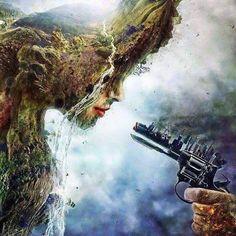 Surreal Digital Art & Illustration by Mario S. Mother Earth, Mother Nature, Digital Art Illustration, Dame Nature, Satirical Illustrations, Satirical Cartoons, Surreal Photos, Surreal Art, Psychedelic Art
