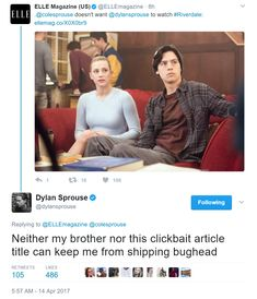"""betty-and-jughead: """"""""OMG. Hahahaha Bughead got the seal of support from Dylan Sprouse hehehe awww Cole's supportive bro is sweet ;) ~ [tweet] """" """" Dylan shipping bughead is everything"""