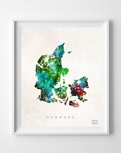 $11.95 - Shipping Worldwide! [Click Photo for Details] #denmark #map #nursery #watercolor #poster #illustration #art #painting