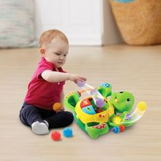 Let your little one have fun while they learn with the Green Pop and Spin Turtle. This interactive toy introduces numbers, colors, and parts of the body to your baby, while also letting them drop colored balls into turtle's tummy so he can spin and pop. Green Bedding, Interactive Toys, Spinning, Turtle, Have Fun, Kids Fashion, Pop, Learning, Children