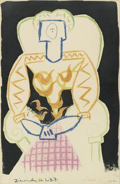 PABLO PICASSO LA FEMME AU FAUTEUIL  Lithograph printed in colors, 1947