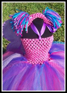 FABBY CADABRA FAIRY Abby Cadabby Inspired Crocheted Tutu Dress with Sparkly Wings and Ponytail Headband 6-24mos via Etsy