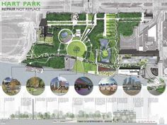 AIA Detroit by Design Competition: Hart Park Repair not Replace Landscape Architecture Drawing, Landscape Plans, Urban Landscape, Landscape Design, Architecture Diagrams, Architecture Portfolio, Garden Design, The Plan, How To Plan