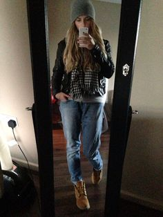 b6fa0d63c75d All Saints leather jacket, Timberland boots, grey primark hoodie & beanie…  Tavaszi Outfitek