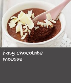 It's rich, chocolately and smooth… and yet good for you in so many ways. Enjoy this mousse on its own or with berries and nuts any time of day. Chocolate Mousse Recipe, Delicious Chocolate, Easy Recipes, Easy Meals, Coconut Flakes, Cocoa, Berries, Smooth, Desserts