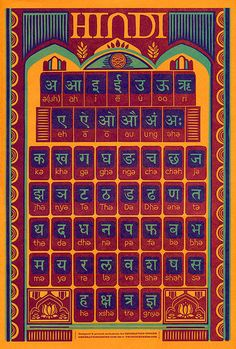 Hindi Alphabet Letterpress Poster by twotonepress on Etsy, $27.00
