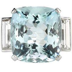 10.74 Carat Aquamarine Diamond Platinum Ring