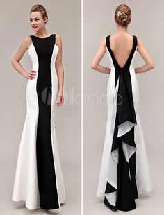 Cor bloco vestido sereia V-Back babados tafetá vestido de baile