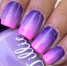 ombre nails purple and hot pink