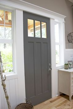 Front door color - B Moore Kendall Charcoal door with Behr All in One Studio Taupe and B Moore White Dove trim - The Inspired Room Off White Paint Colors, Grey Paint, Paint Colours, Dark Colors, Paint Trim, Grey Front Doors, Painted Front Doors, Gray Front Door Colors, Front Entry