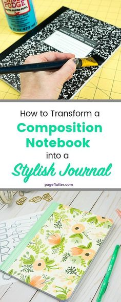 VISIT FOR MORE DIY journal from a boring composition notebook! This would make a cute Bullet Journal. The post DIY journal from a boring composition notebook! This would make a cute Bullet Jo appeared first on Diy. Composition Notebook Covers, Altered Composition Books, Journal Covers, Journal Pages, Journal Art, Diy Journal Cover Ideas, Journal Ideas, Diy Journal Books, Diy Crafts For School