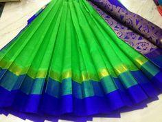 very nice colour combination and saree too Blue Silk Saree, Green Saree, Pure Silk Sarees, Wedding Saree Blouse, Saree Dress, Kuppadam Pattu Sarees, Indian Sarees, Indian Costumes, Silk Saree Blouse Designs