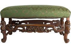 Carved & Upholstered Bench
