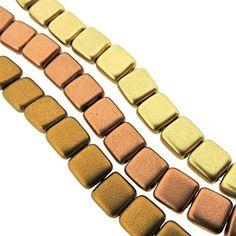 Tile Beads Bundle: Czechmate 6mm Square 2-Hole Tile Beads - Matte Metallic Mix: Flax, Goldenrod & Copper (75 beads total) CzechMate http://www.amazon.com/dp/B01DFRRWC8/ref=cm_sw_r_pi_dp_69z9wb030S1F0