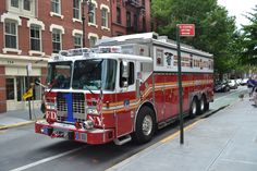 Great photo of R1's rig parked near Squad 18 (july 2012)  Photo By Mickael Legendre  shared by nyfirestore.com