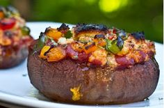 Easy Stuffed Portabella Pizza in a Cashew Basil Cheese Sauce