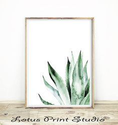 Cactus Print Agave Watercolour Wall Art South Western