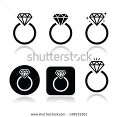 Diamond engagement ring icons by RedKoala