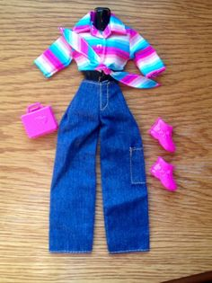 c4ad0548fa Barbie Fashion Avenue Authentic Jeans Turquoise Pink Purple Blue Shirt   DollClothes
