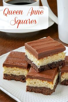 Queen Anne Squares. Another popular cookie bar in Newfoundland, especially at the Holidays. It reminds me of a cookie bar version of the Mounds candy bar. #christmas #christmascookies #Christmasbaking #chocolate #coconut #freezerfriendly #cookies #cookiebars Queen Anne, Mounds Candy, Christmas Baking, Christmas Cookies, Cookie Bars, Tiramisu, Coconut, Holiday, Xmas Cookies