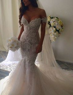 Charming Off-the-Shoulder Sleeveless Ruched Sweep Train Lace Mermaid Wedding Dress