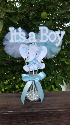 IT'S A BOY Elephant Centerpieces, Baby Shower Centerpieces, Elephant Theme Decorations, Elephant baby shower decorations. it's a Boy BABY - IT'S A BOY Elephant Centerpieces Baby Shower Elephant Baby Shower Centerpieces, Baby Shower Decorations For Boys, Boy Baby Shower Themes, Baby Shower Fun, Baby Shower Table Centerpieces, Elephant Decoration, Elephant Nursery Decor, Elephant Theme, Elephant Baby Showers