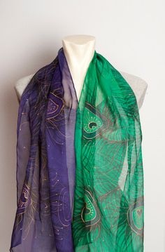 Elegant Hand Painted Silk Chiffon  Long Scarf with by LigaKandele
